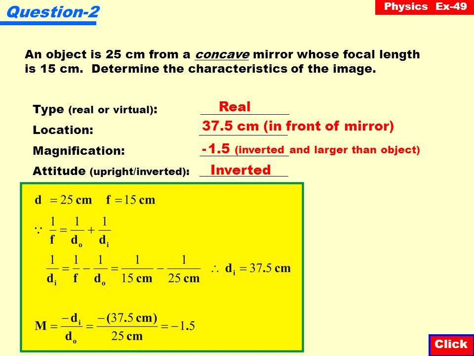 Question-2 Real 37.5 cm (in front of mirror)