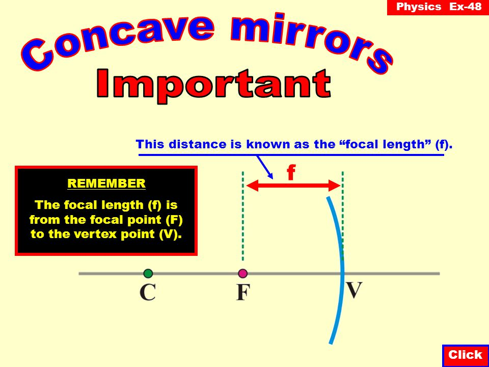 Concave mirrors Important f