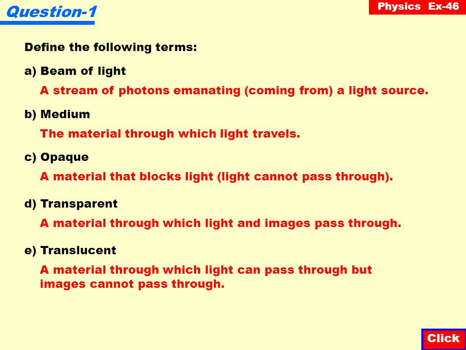 Question-1 Define the following terms: a) Beam of light