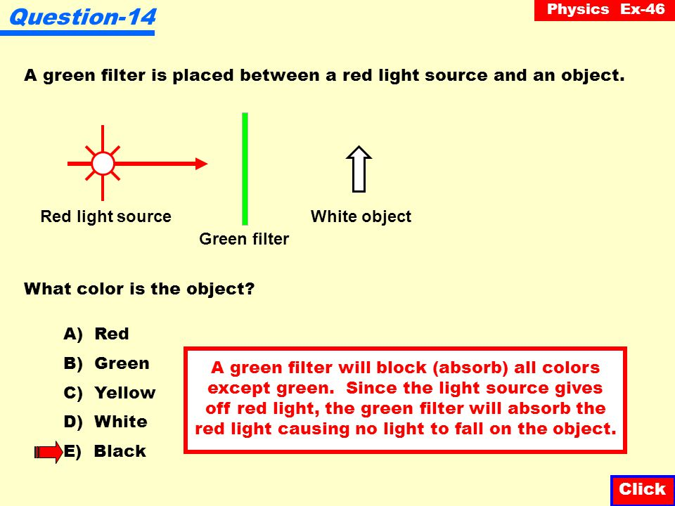 Question-14 A green filter is placed between a red light source and an object. Red light source. Green filter.