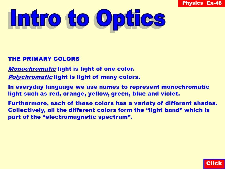 Intro to Optics THE PRIMARY COLORS