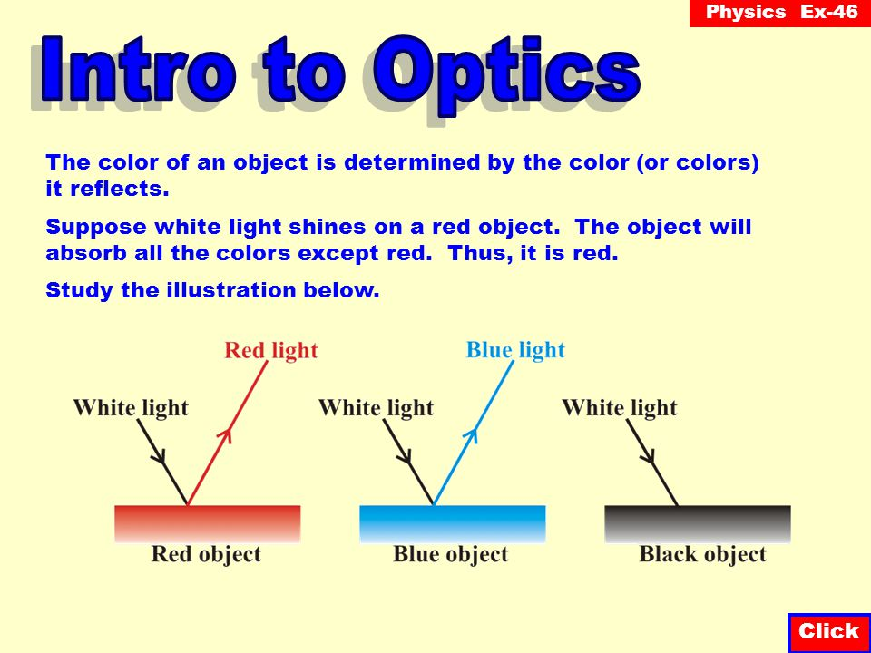Intro to Optics The color of an object is determined by the color (or colors) it reflects.