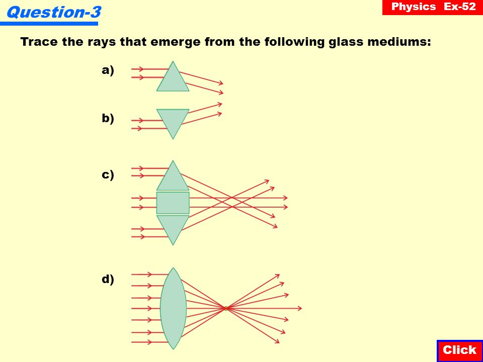 Question-3 Trace the rays that emerge from the following glass mediums: a) b) c) d) Click Click