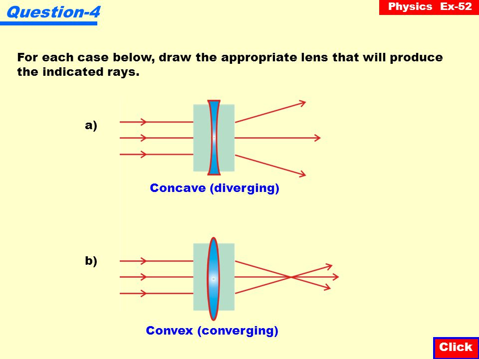 Question-4 For each case below, draw the appropriate lens that will produce. the indicated rays. a)