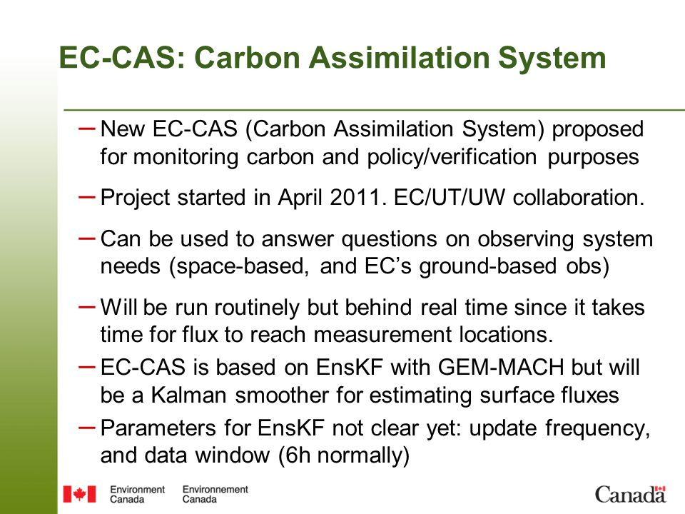 EC-CAS: Carbon Assimilation System