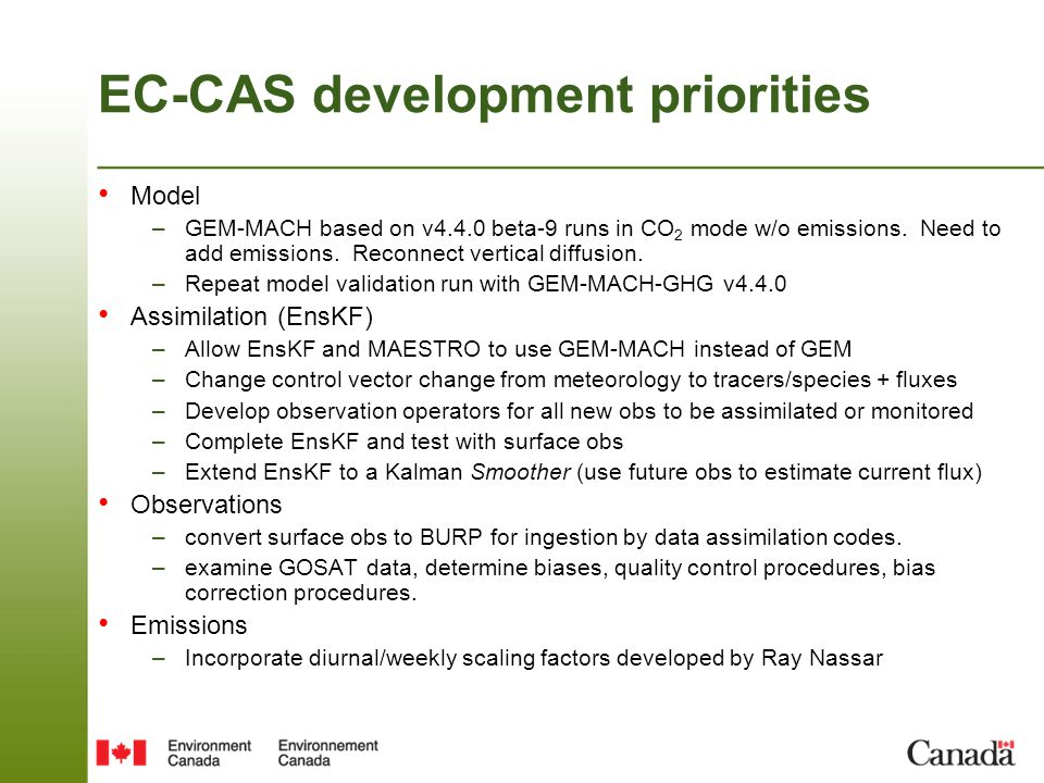 EC-CAS development priorities