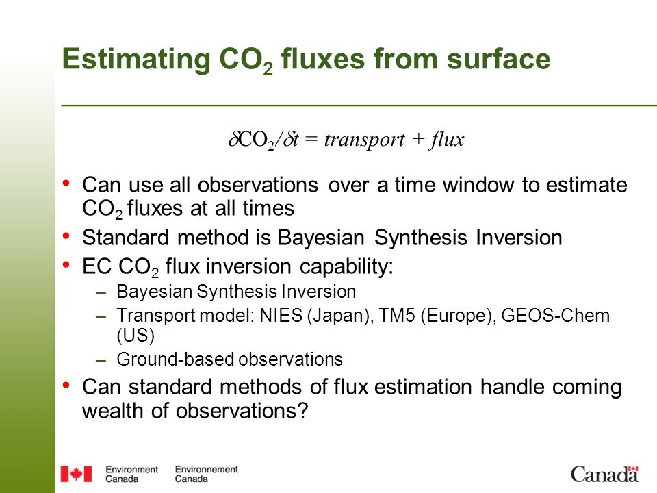 Estimating CO2 fluxes from surface