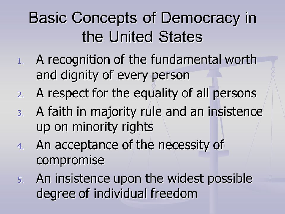 Basic Concepts of Democracy in the United States