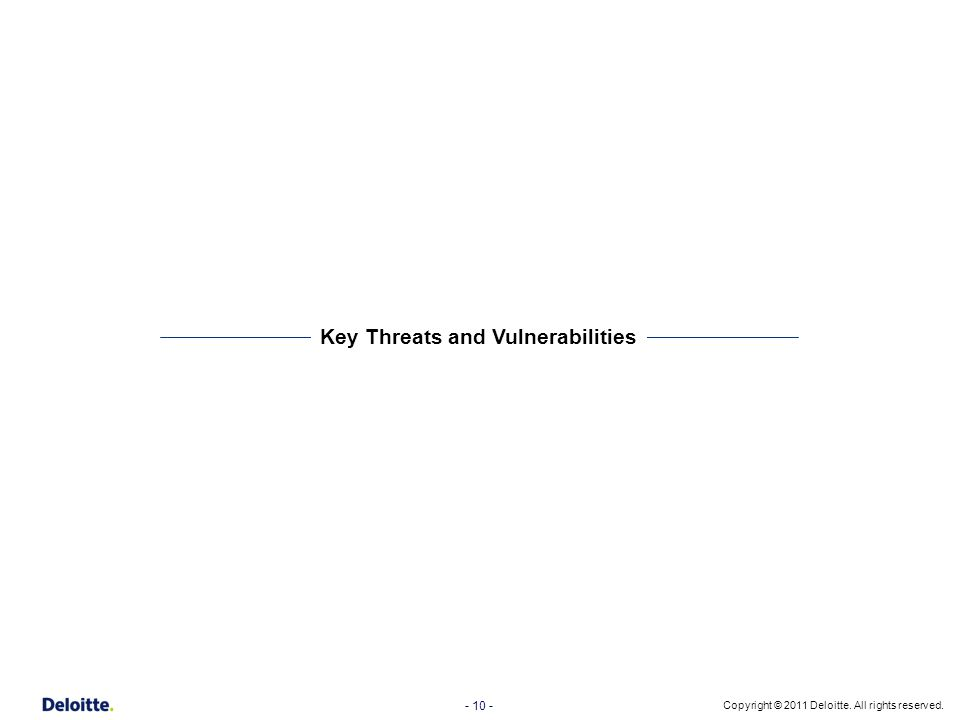 Key Threats and Vulnerabilities