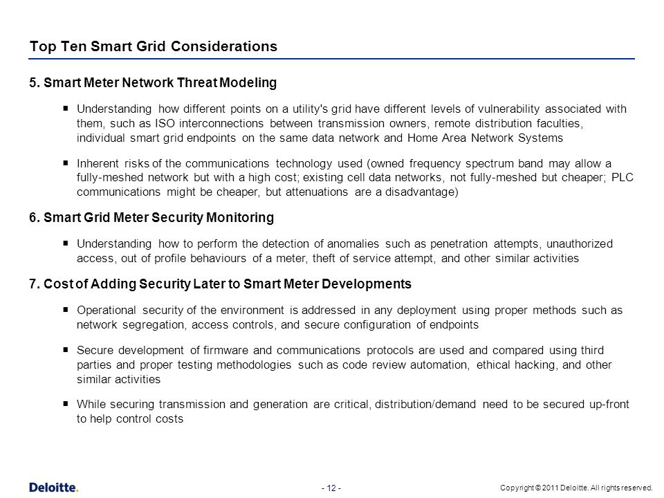 Top Ten Smart Grid Considerations