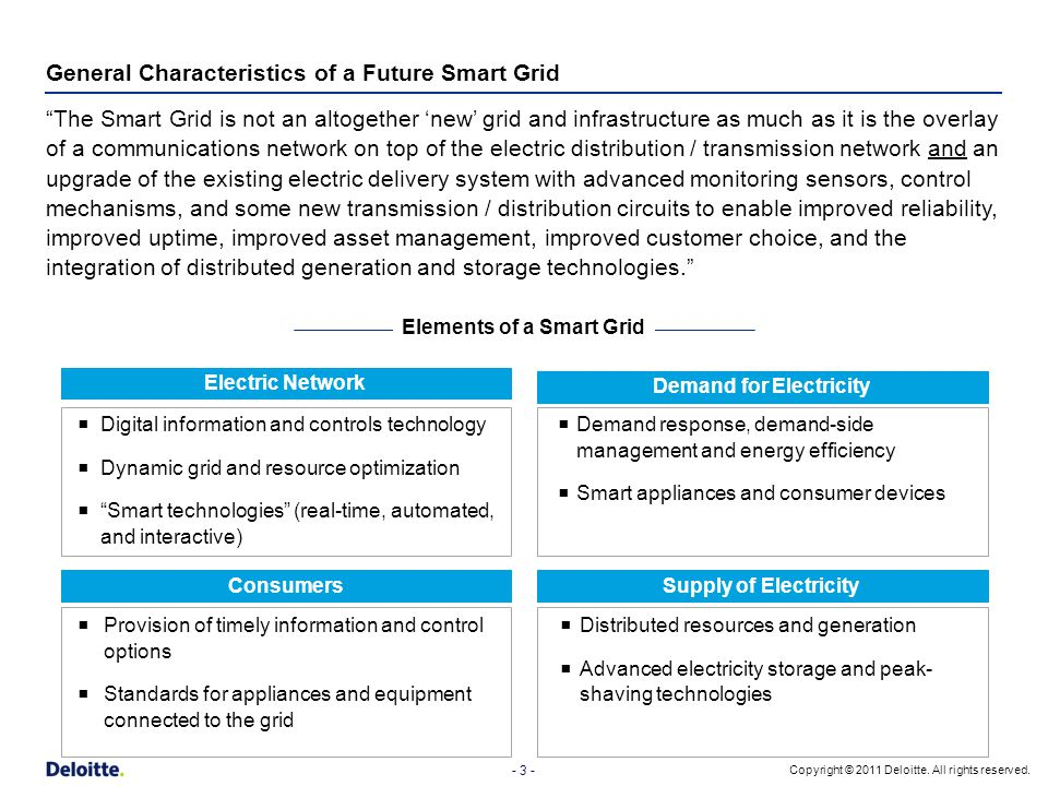 General Characteristics of a Future Smart Grid