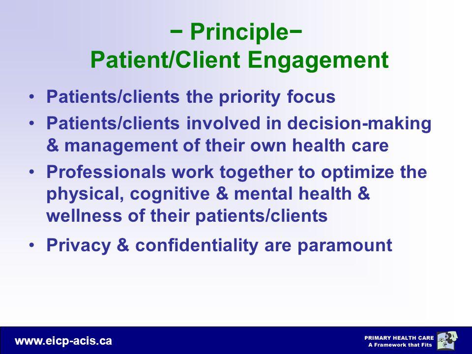 − Principle− Patient/Client Engagement