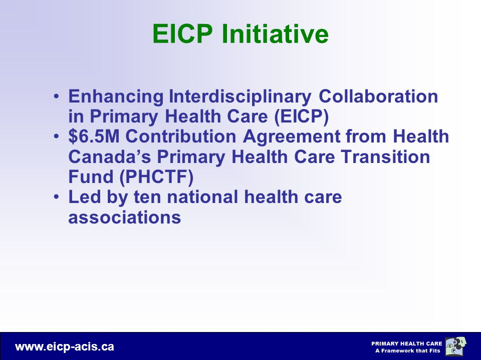 EICP Initiative Enhancing Interdisciplinary Collaboration in Primary Health Care (EICP)