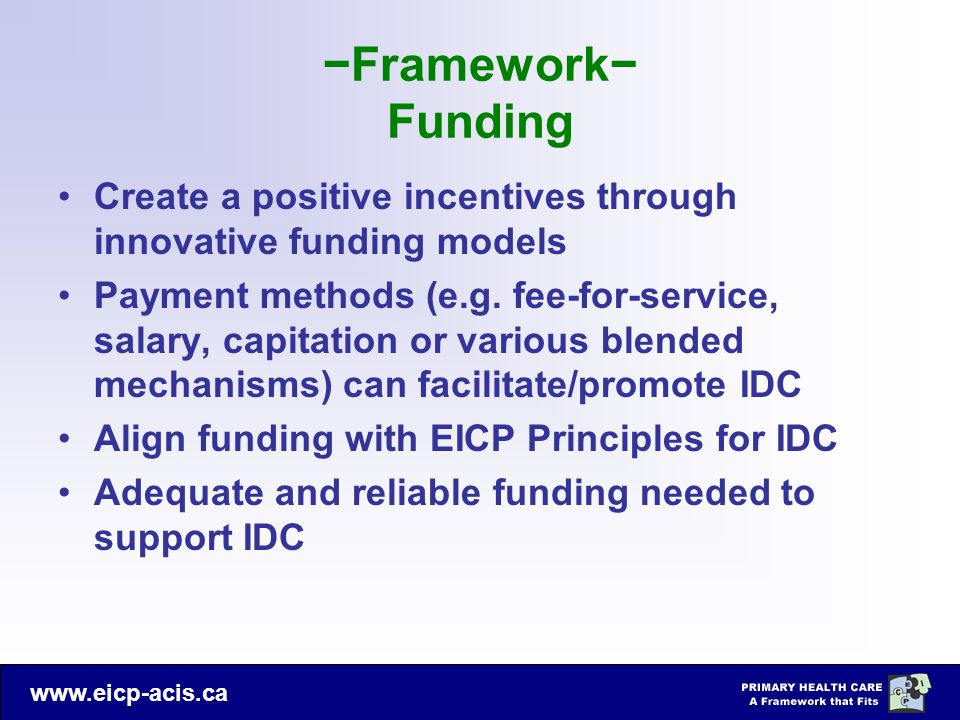 −Framework− Funding Create a positive incentives through innovative funding models.