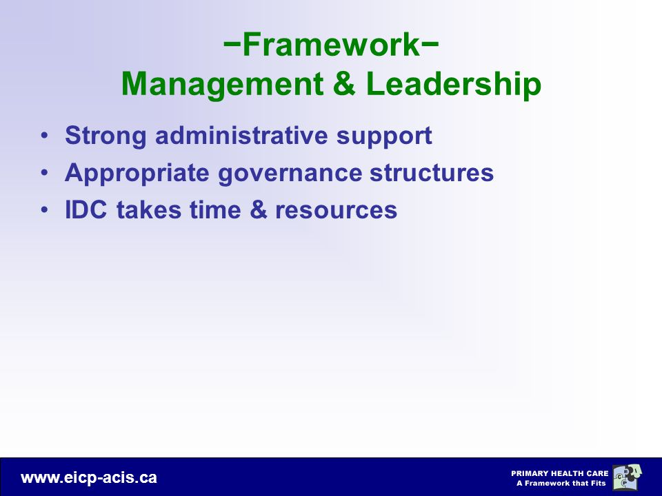 −Framework− Management & Leadership