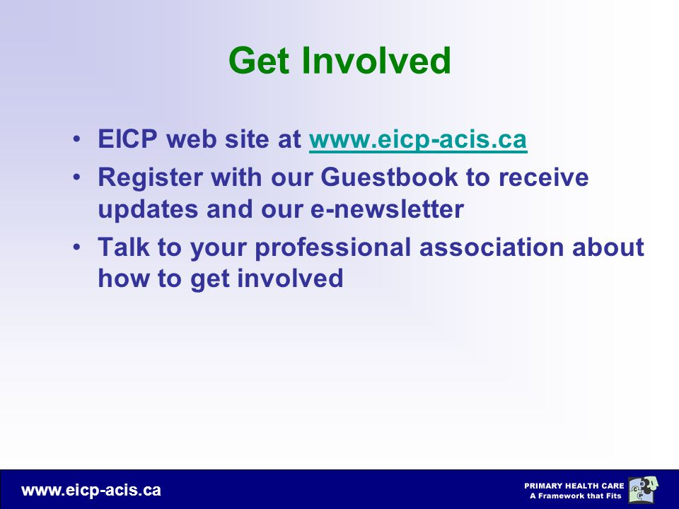 Get Involved EICP web site at www.eicp-acis.ca