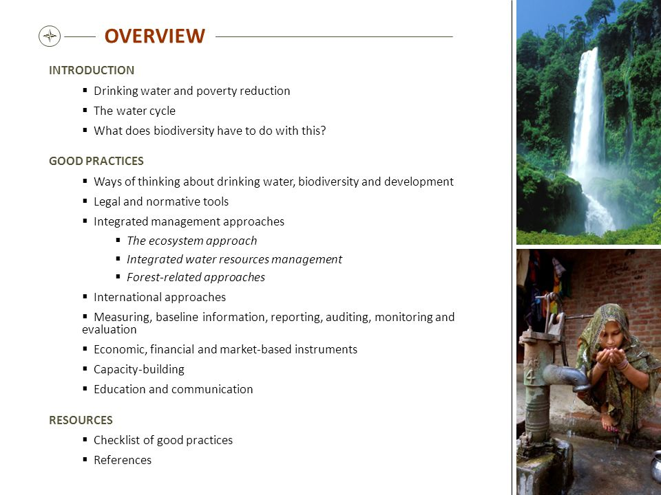 OVERVIEW  INTRODUCTION Drinking water and poverty reduction