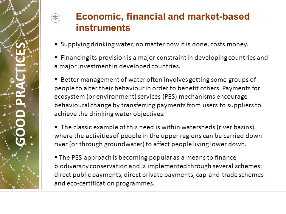 GOOD PRACTICES Economic, financial and market-based instruments
