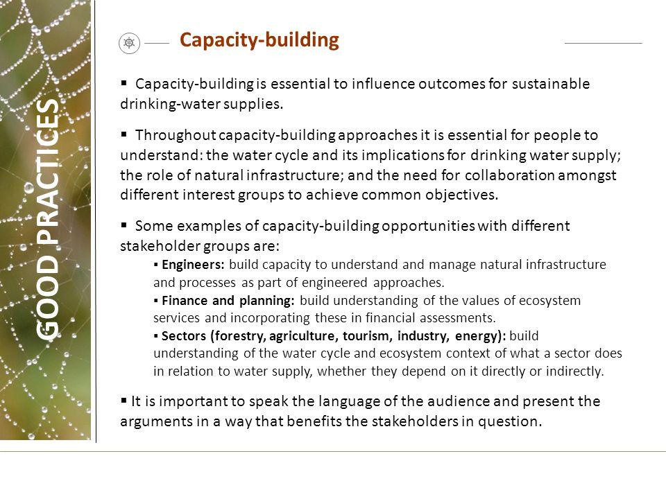 GOOD PRACTICES Capacity-building