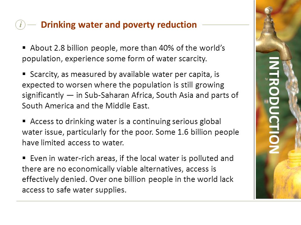 Drinking water and poverty reduction