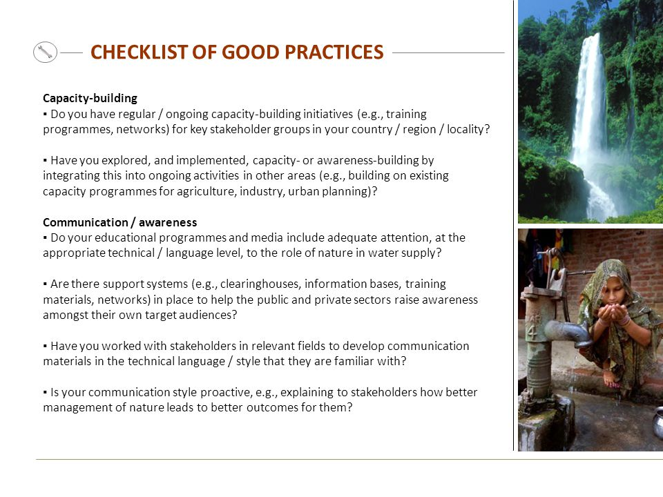 CHECKLIST OF GOOD PRACTICES