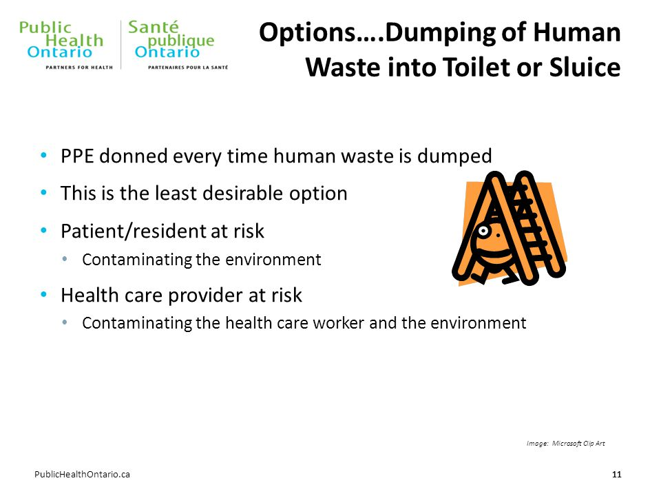 Options….Dumping of Human Waste into Toilet or Sluice