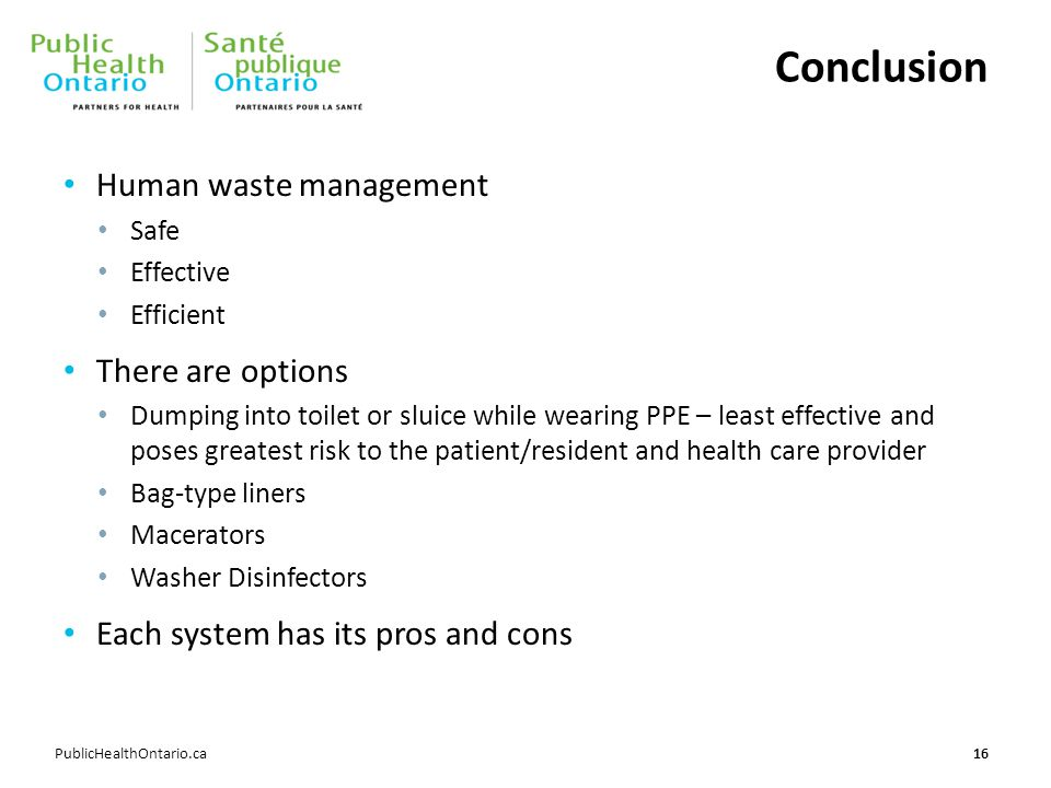 Conclusion Human waste management There are options