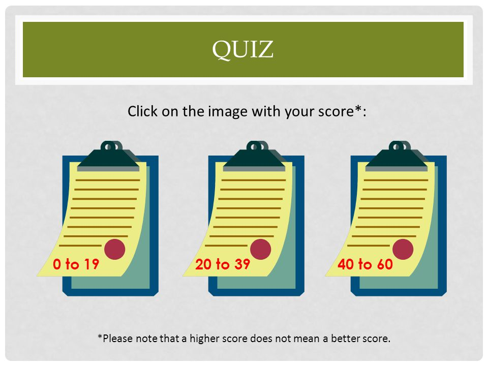 Quiz Click on the image with your score*: 0 to to to 60