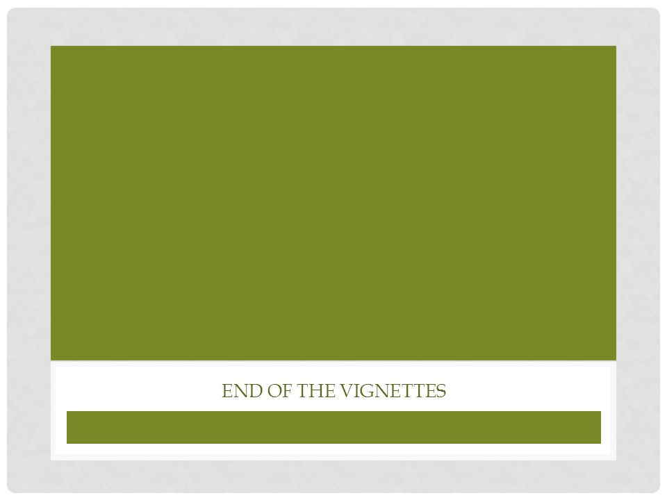 End of the vignettes
