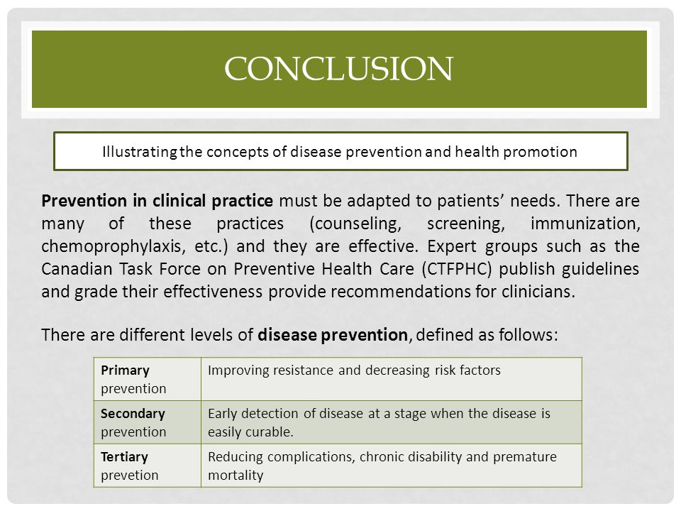 Illustrating the concepts of disease prevention and health promotion