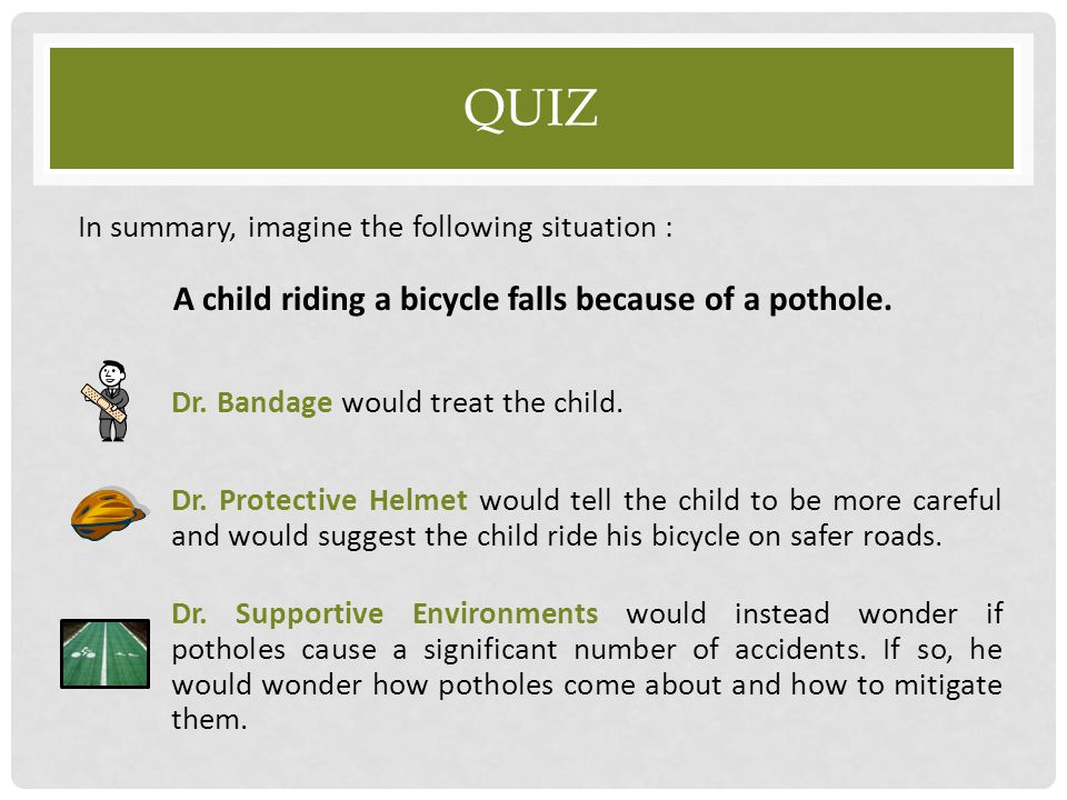 A child riding a bicycle falls because of a pothole.