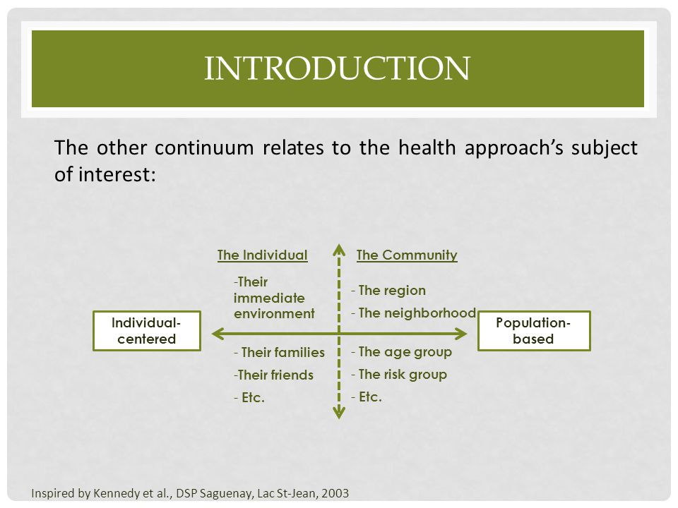 introduction The other continuum relates to the health approach's subject of interest: The Individual.