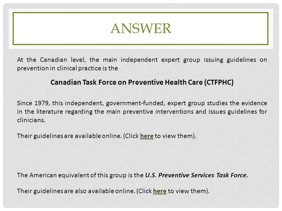 Canadian Task Force on Preventive Health Care (CTFPHC)