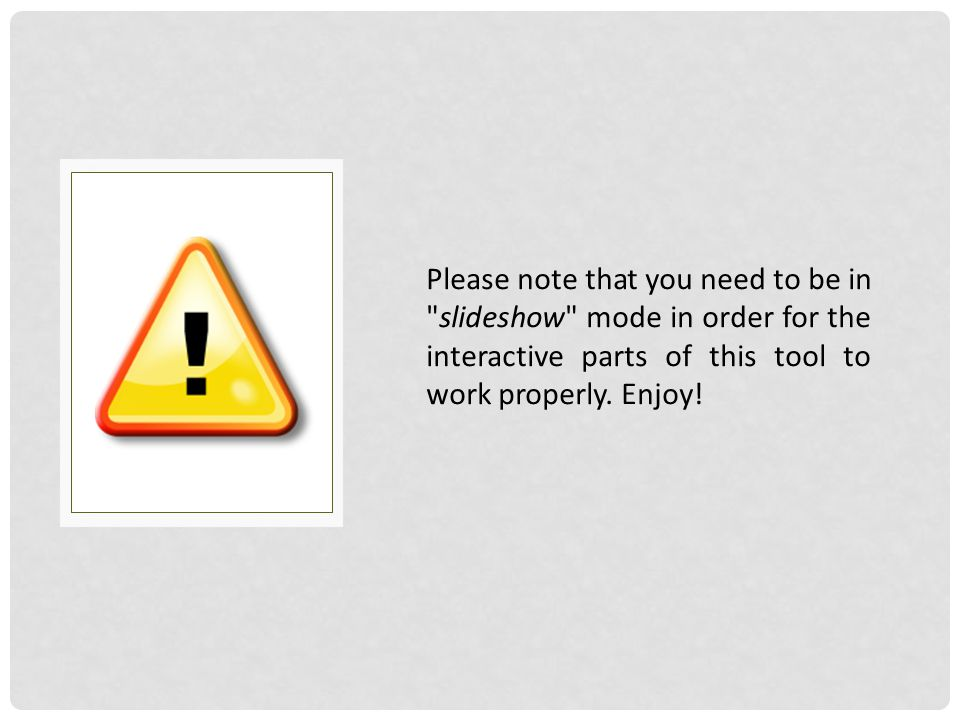 Please note that you need to be in slideshow mode in order for the interactive parts of this tool to work properly.