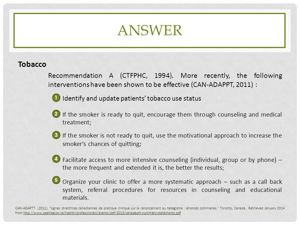 ANSWER Tobacco Identify and update patients' tobacco use status