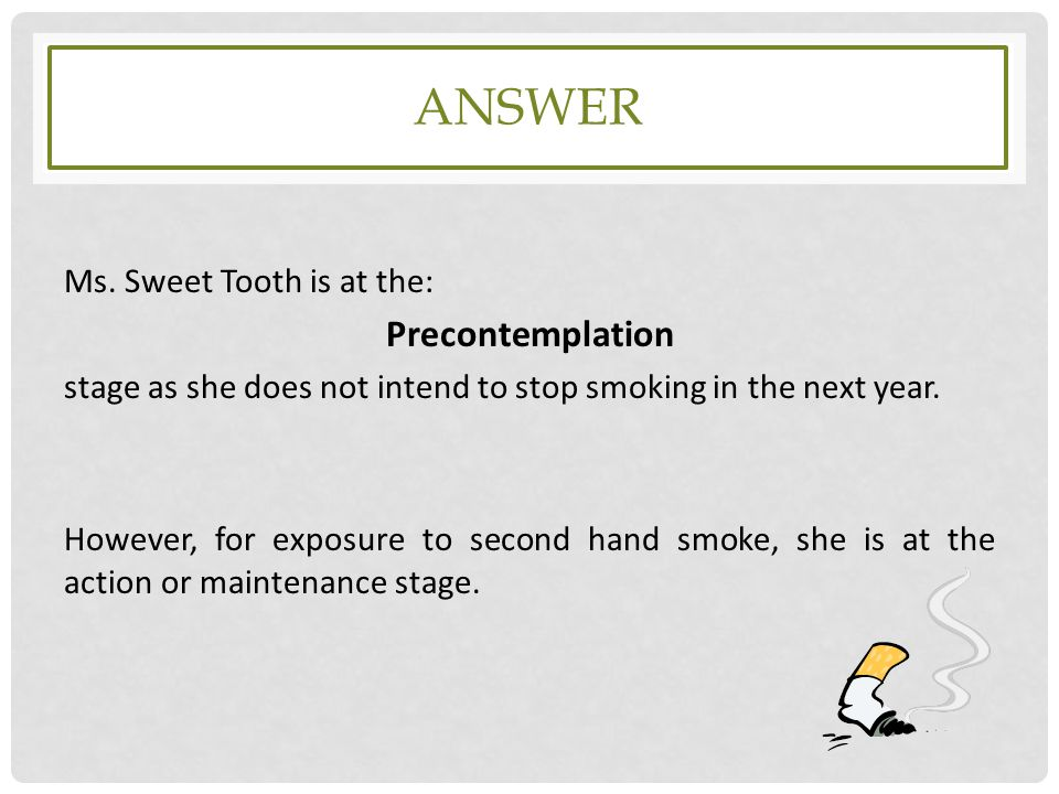 answer Precontemplation Ms. Sweet Tooth is at the: