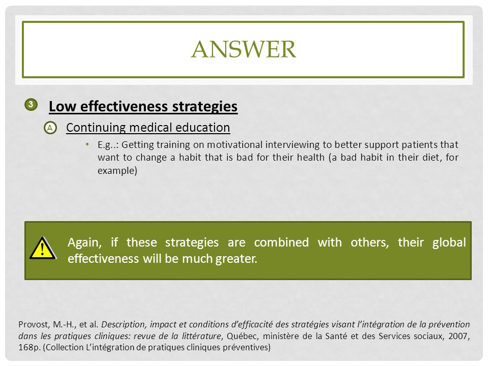 answer Low effectiveness strategies Continuing medical education
