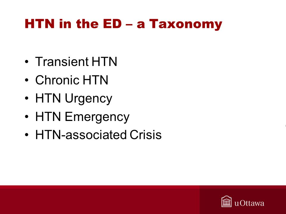 HTN in the ED – a Taxonomy