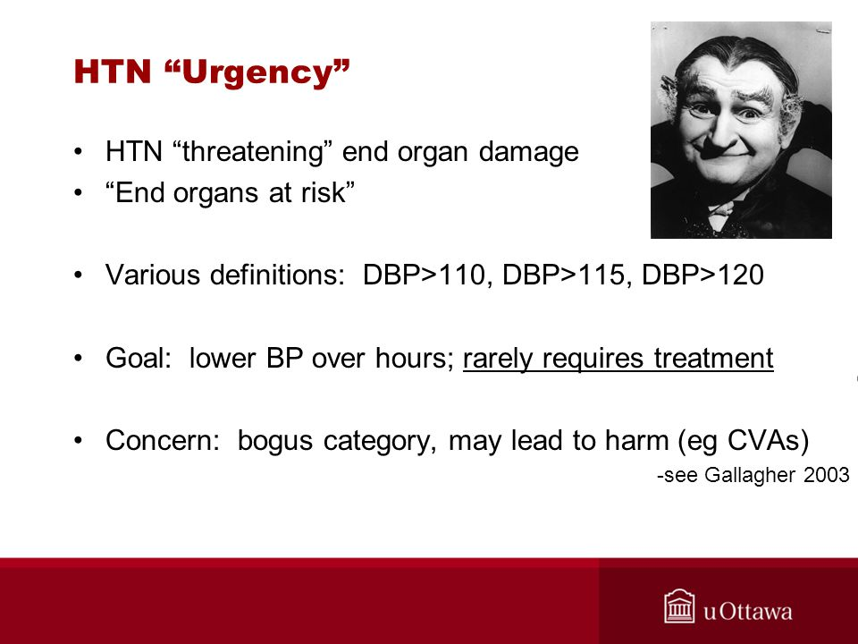 HTN Urgency HTN threatening end organ damage End organs at risk