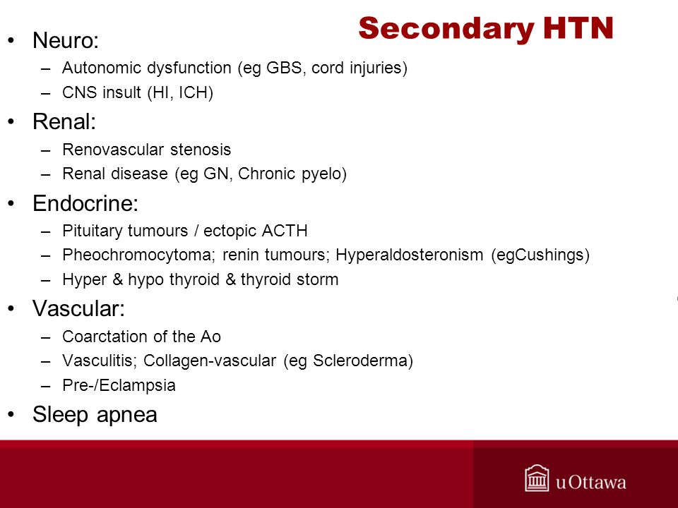 Secondary HTN Neuro: Renal: Endocrine: Vascular: Sleep apnea