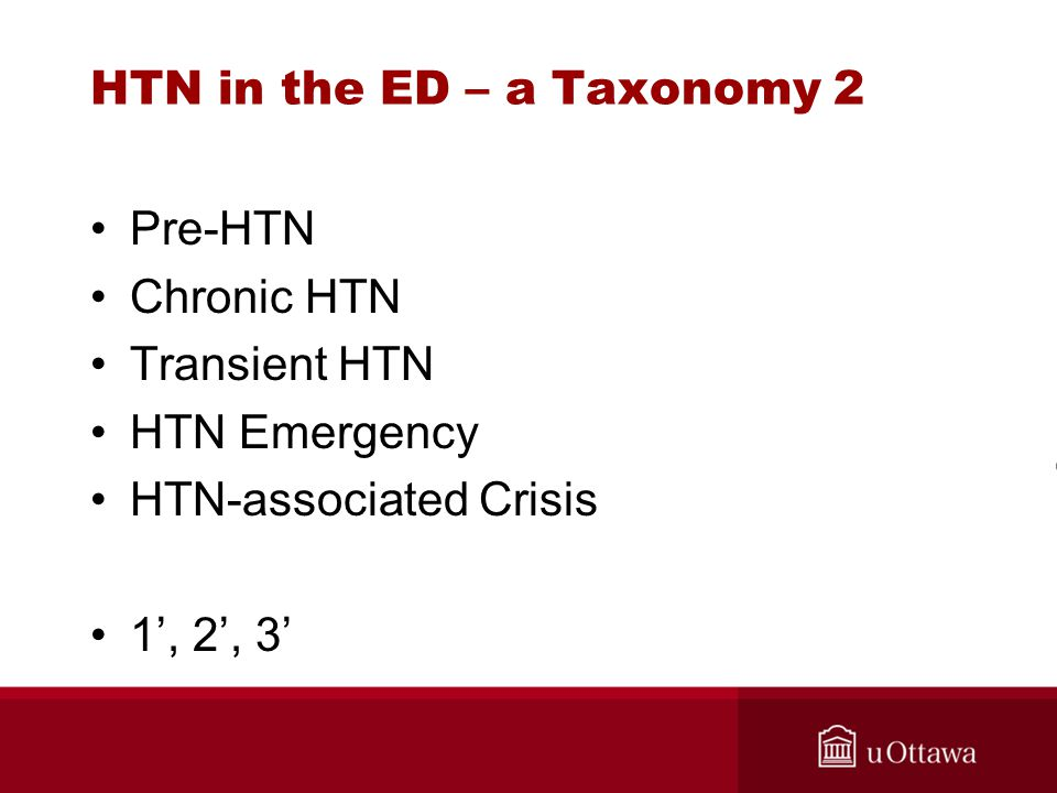 HTN in the ED – a Taxonomy 2