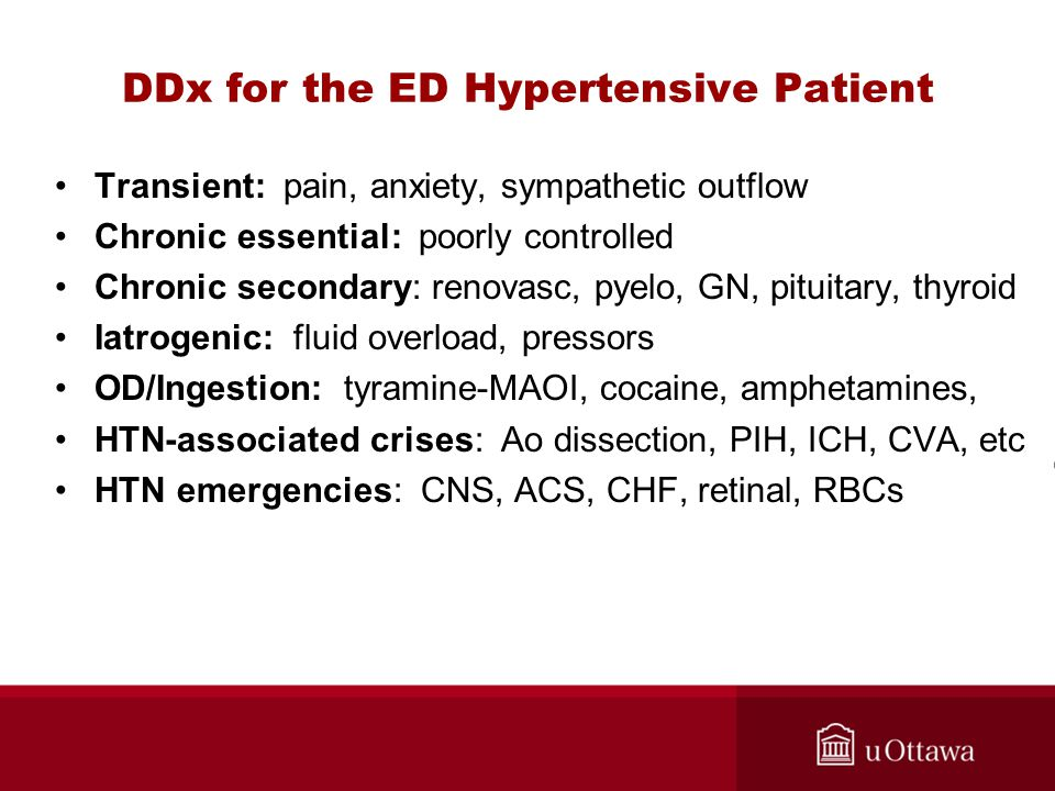 DDx for the ED Hypertensive Patient