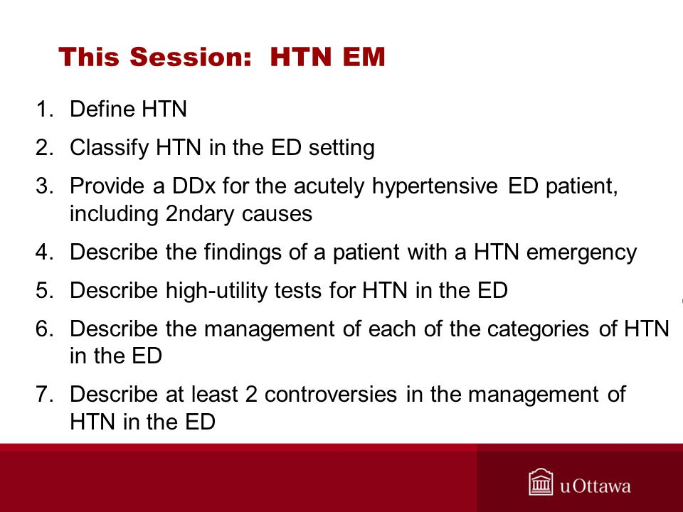 This Session: HTN EM Define HTN Classify HTN in the ED setting