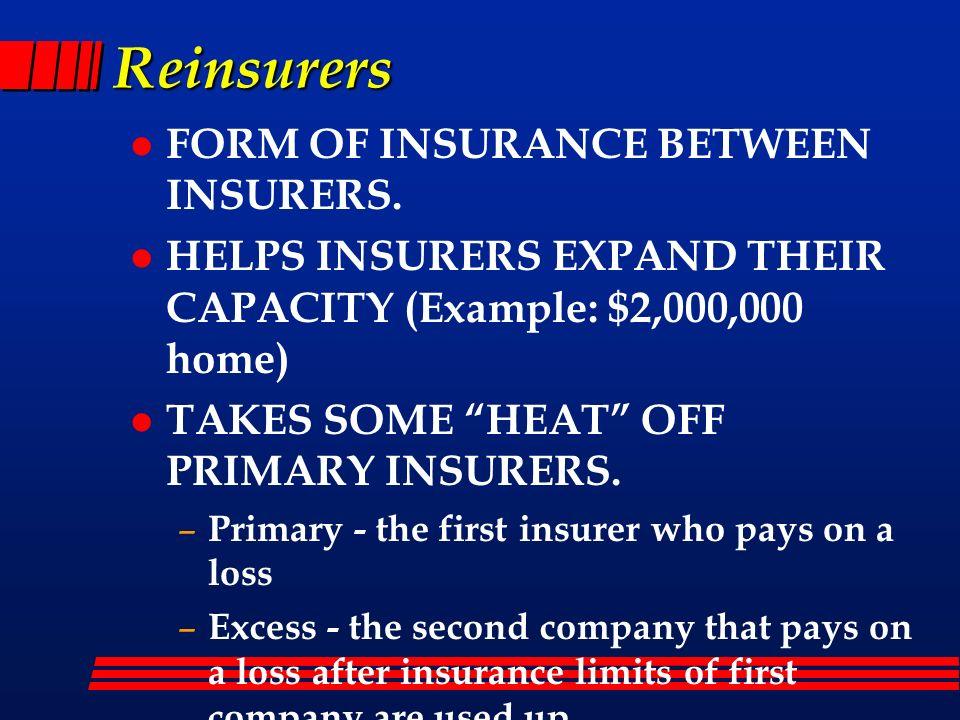 Reinsurers FORM OF INSURANCE BETWEEN INSURERS.