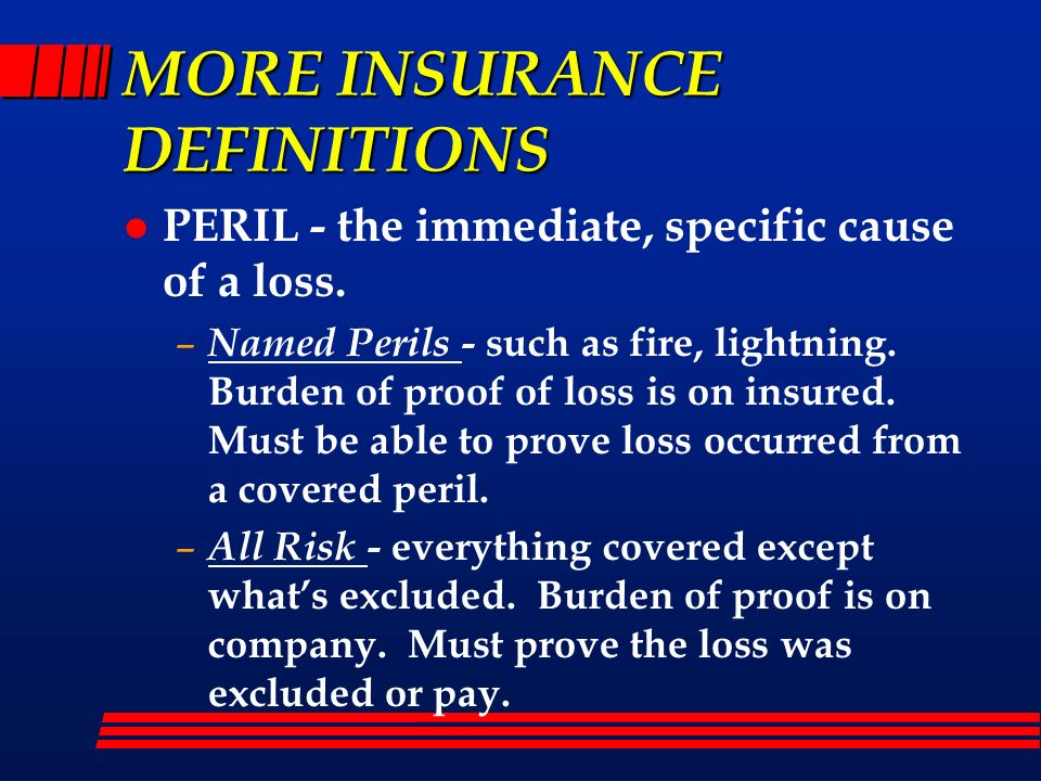 MORE INSURANCE DEFINITIONS