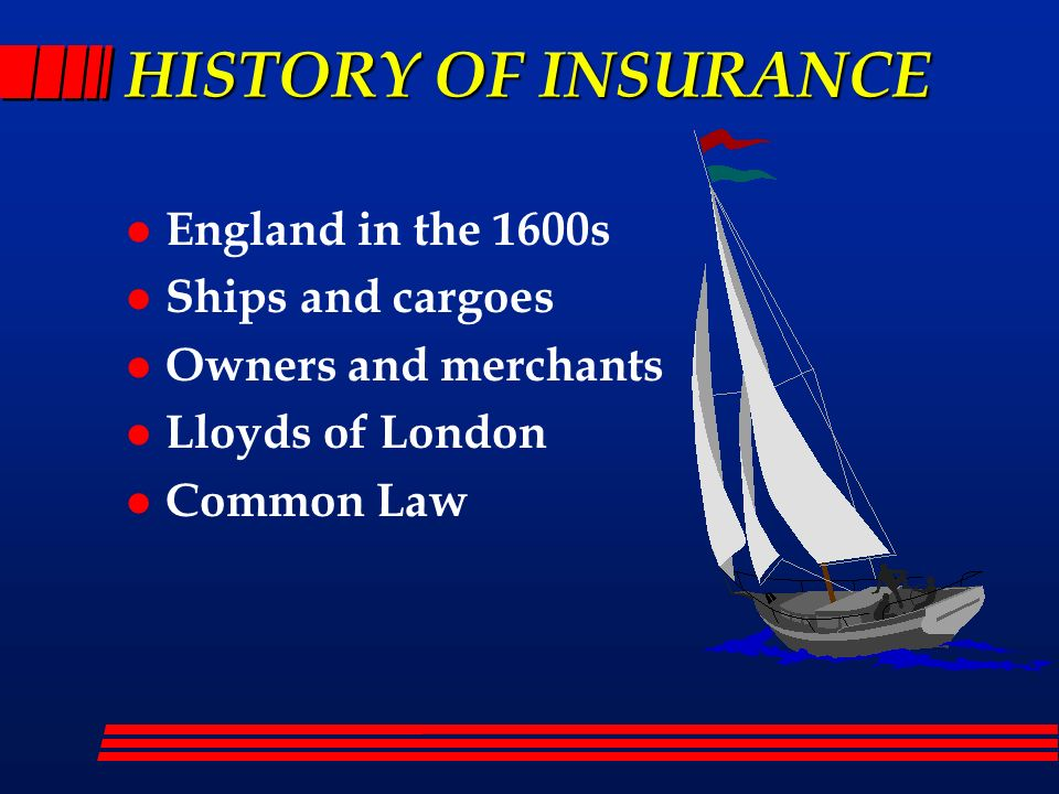 HISTORY OF INSURANCE England in the 1600s Ships and cargoes