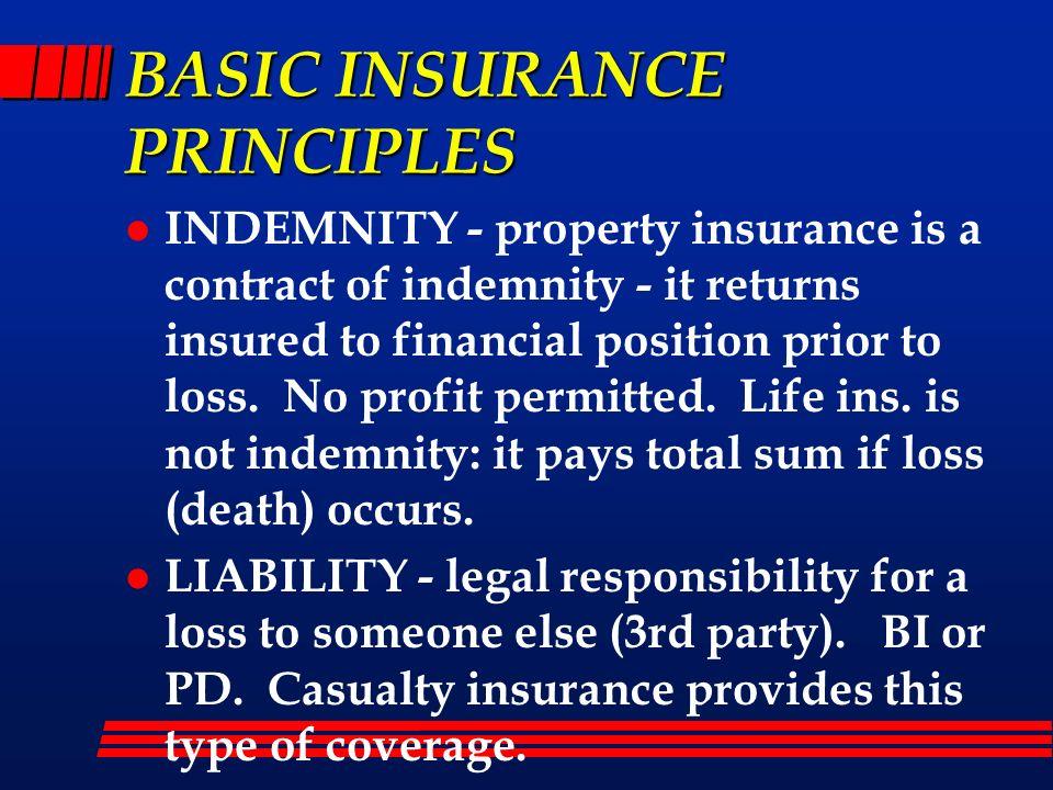 BASIC INSURANCE PRINCIPLES