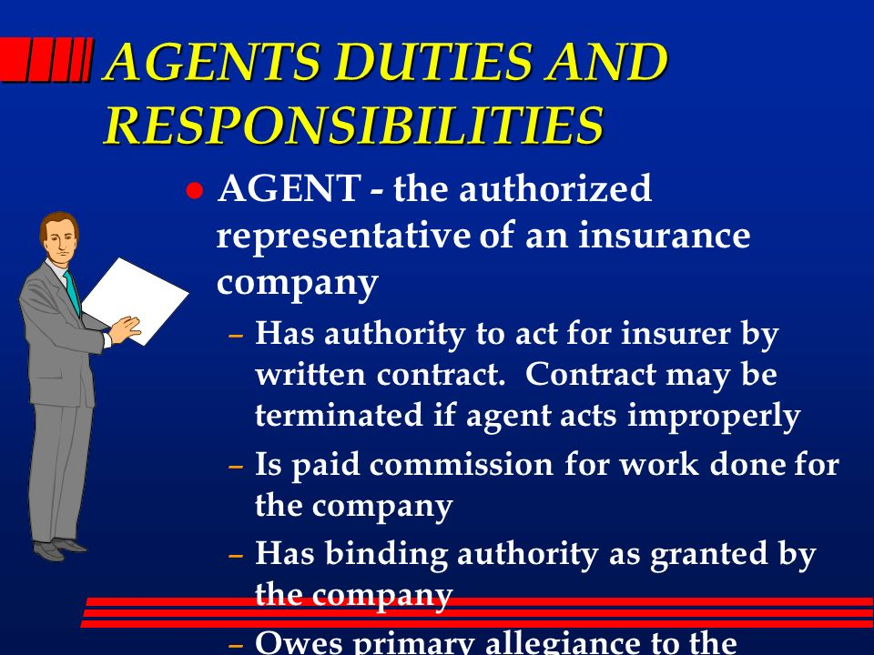 AGENTS DUTIES AND RESPONSIBILITIES