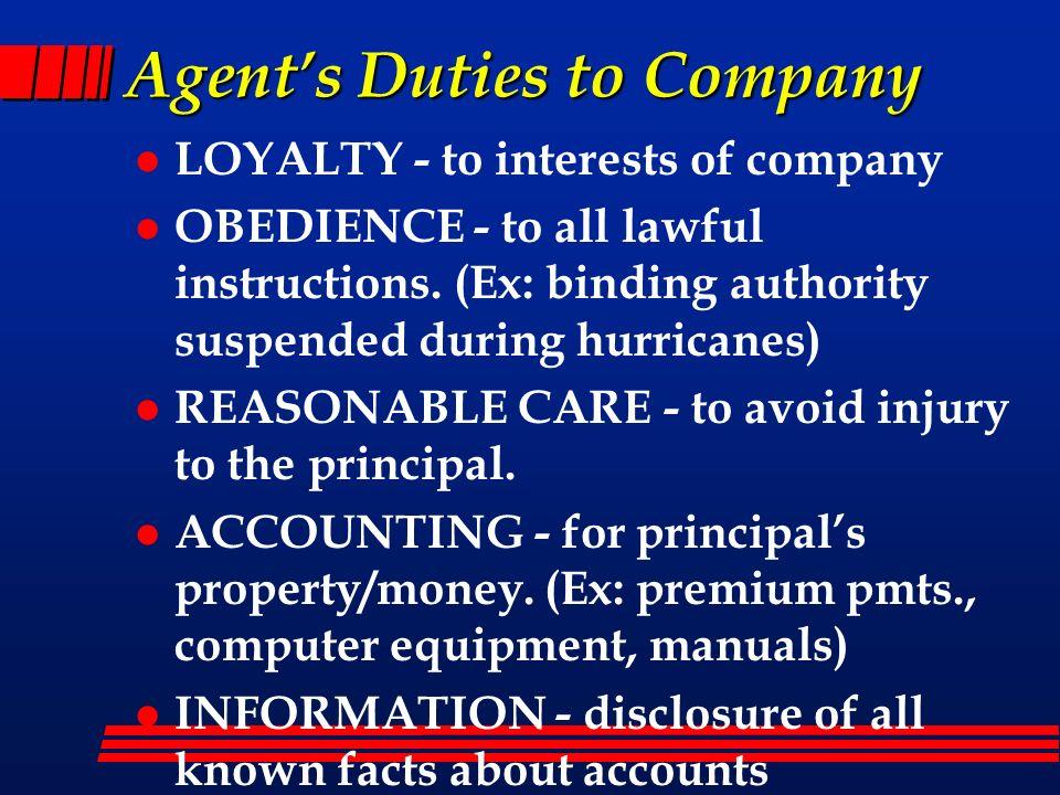 Agent's Duties to Company