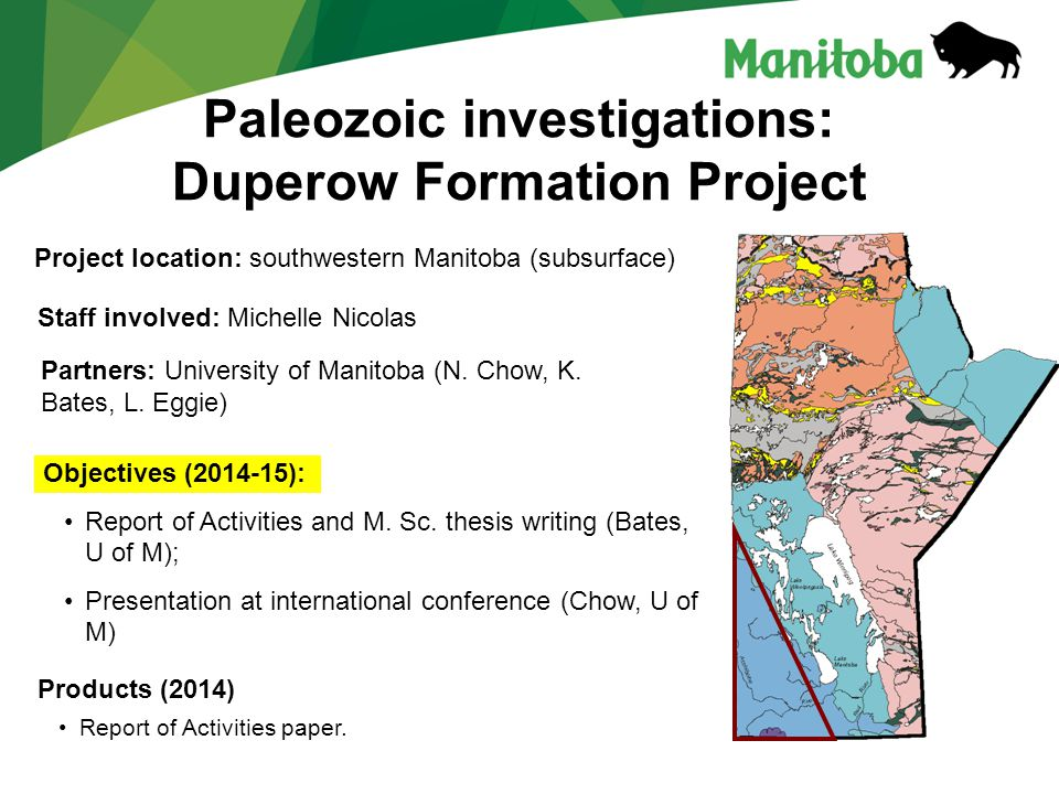 Paleozoic investigations: Duperow Formation Project